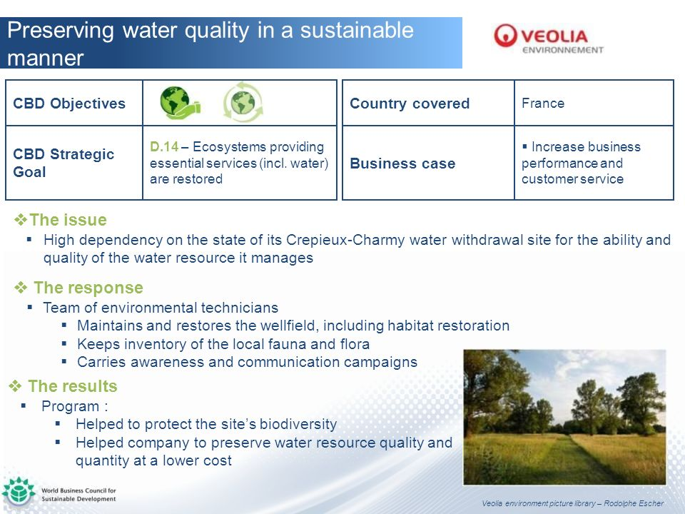 Preserving water quality in a sustainable manner