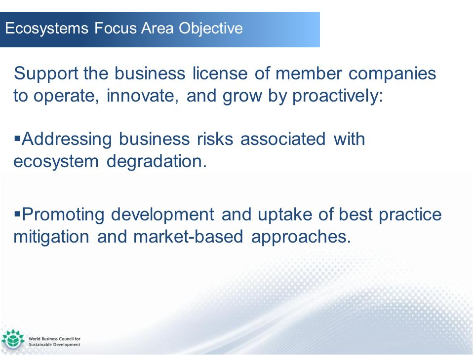Addressing business risks associated with ecosystem degradation.