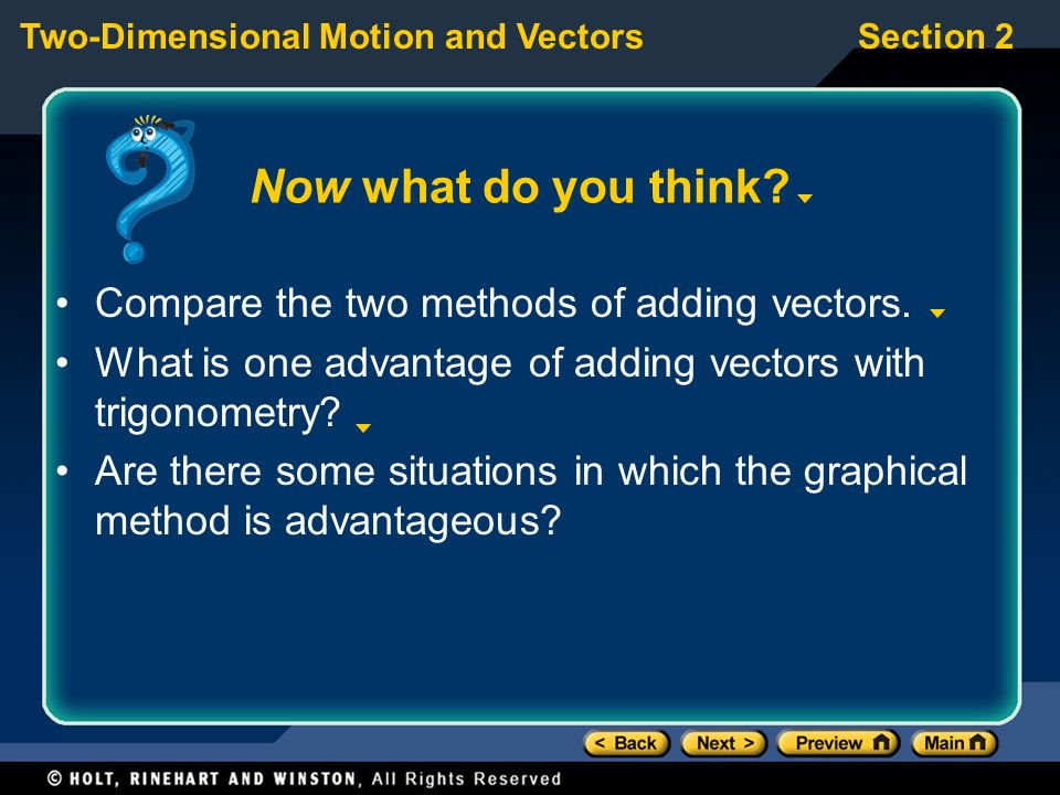 Now what do you think Compare the two methods of adding vectors.