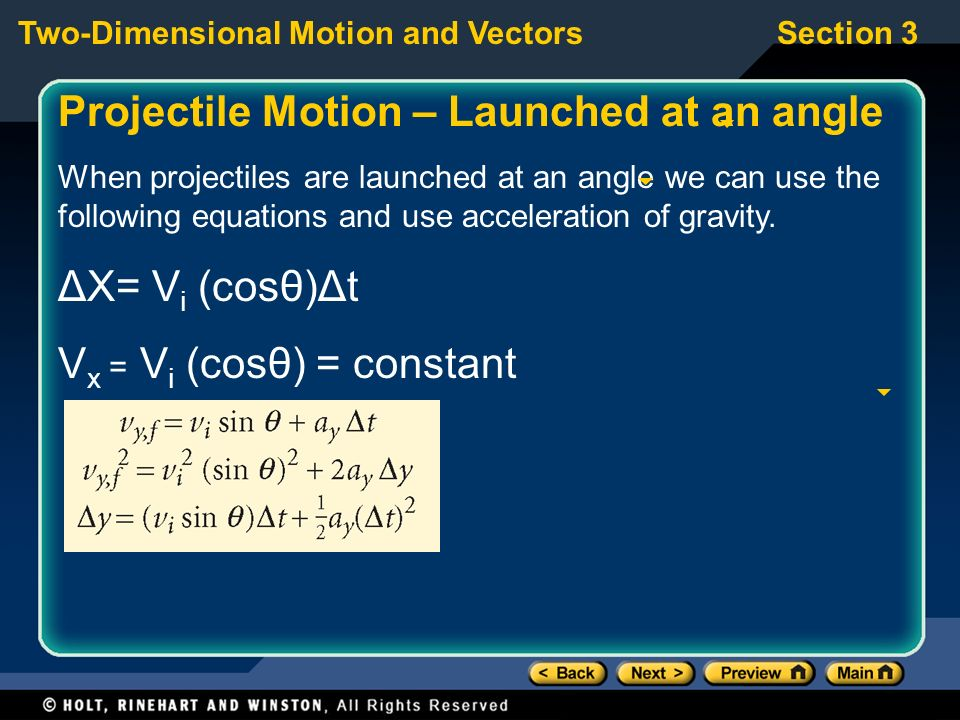 Projectile Motion – Launched at an angle