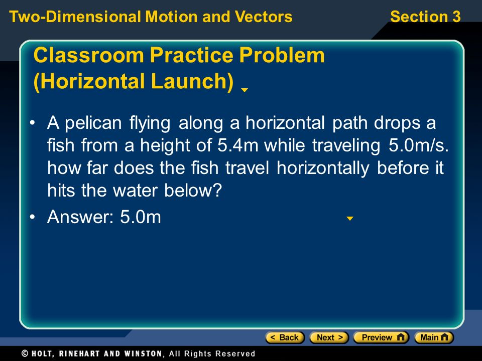 Classroom Practice Problem (Horizontal Launch)