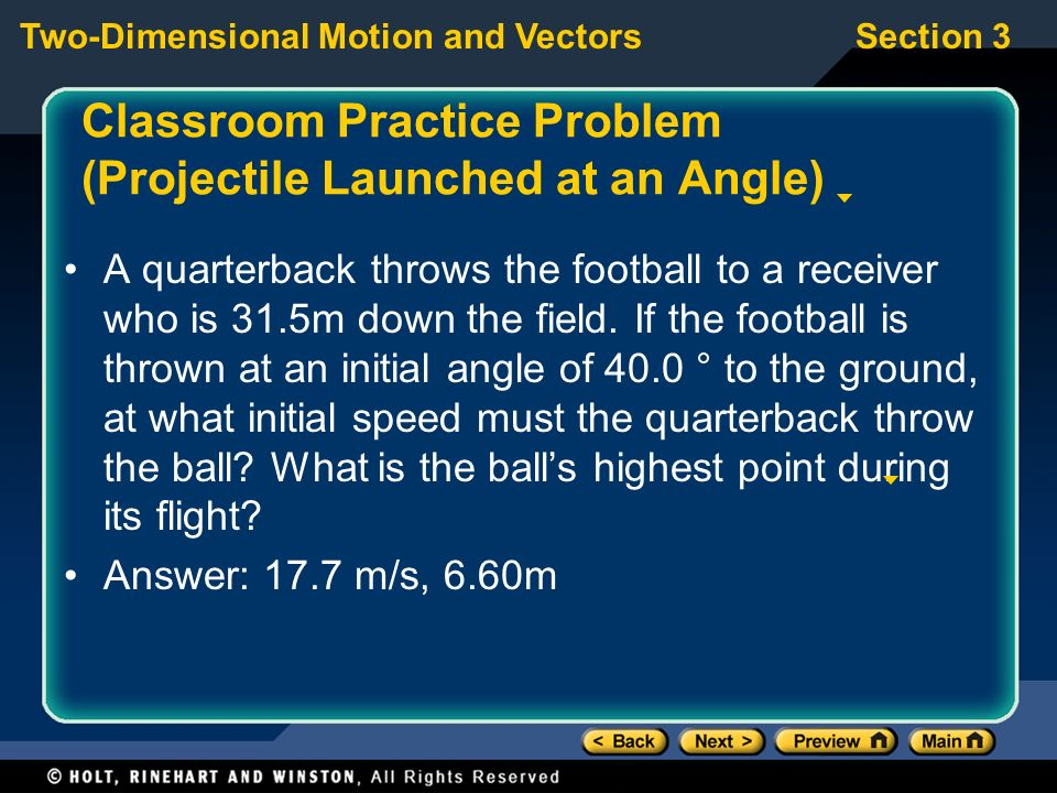 Classroom Practice Problem (Projectile Launched at an Angle)