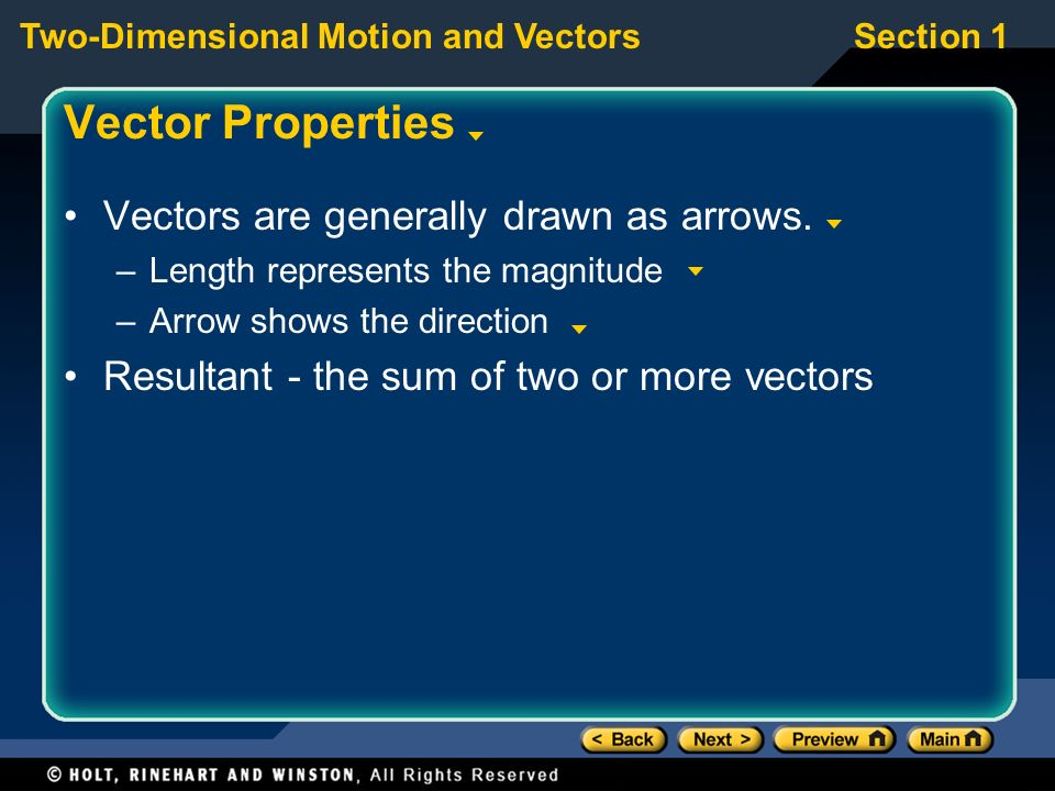 Vector Properties Vectors are generally drawn as arrows.