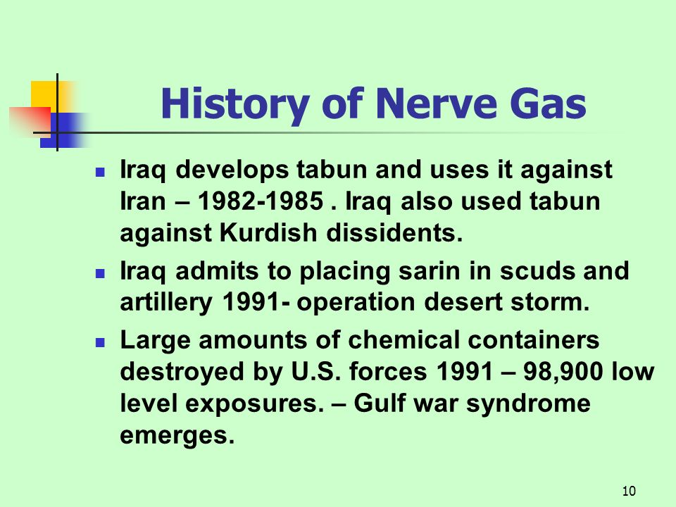 History of Nerve Gas Iraq develops tabun and uses it against Iran – 1982-1985 . Iraq also used tabun against Kurdish dissidents.