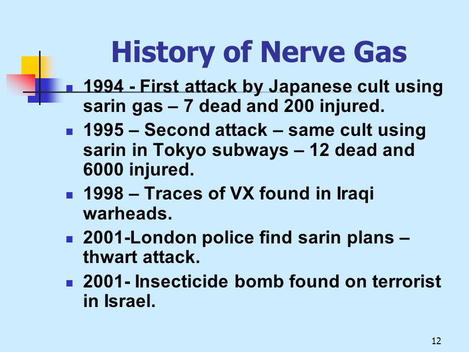 History of Nerve Gas 1994 - First attack by Japanese cult using sarin gas – 7 dead and 200 injured.