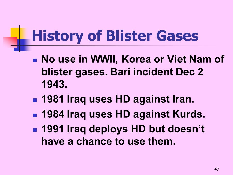 History of Blister Gases