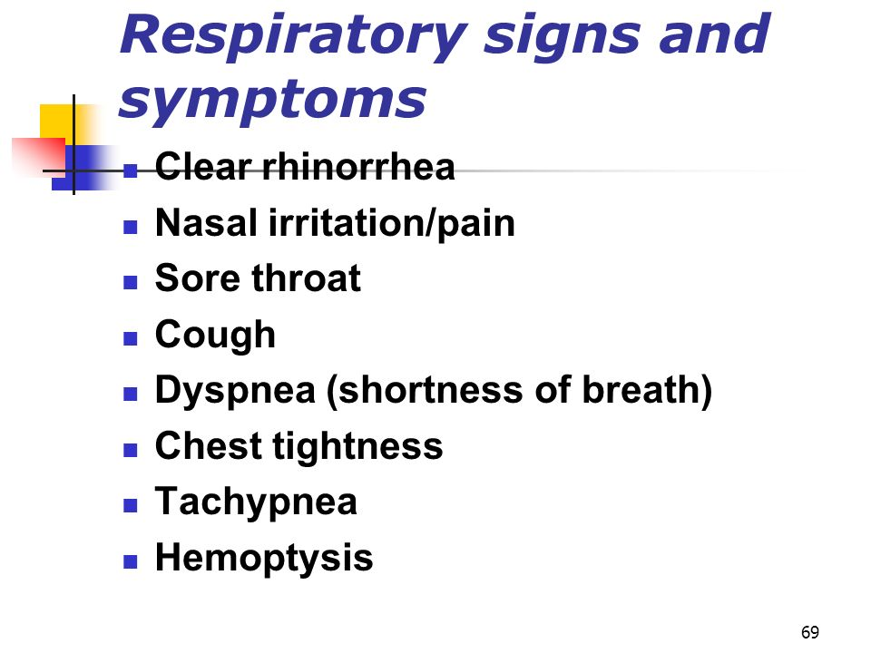 Respiratory signs and symptoms