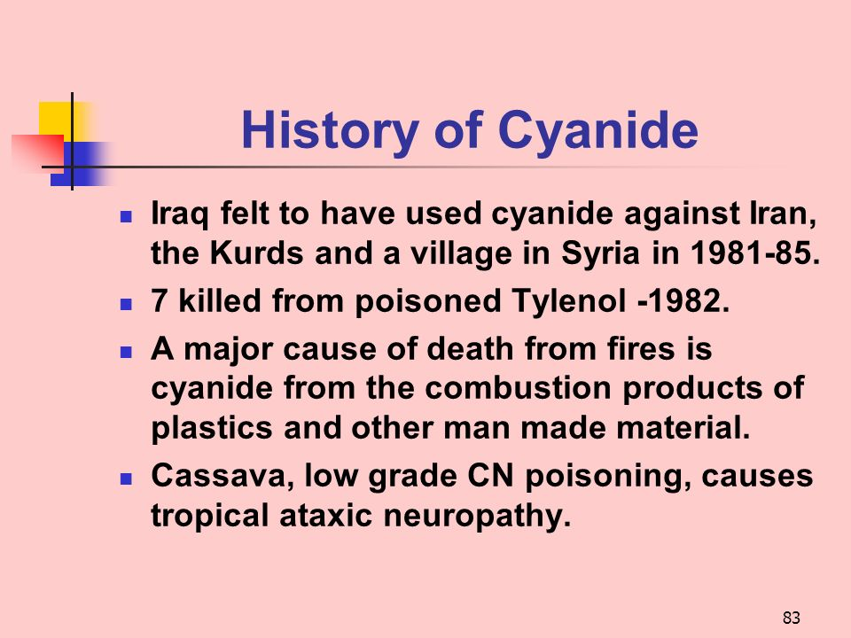History of Cyanide Iraq felt to have used cyanide against Iran, the Kurds and a village in Syria in 1981-85.