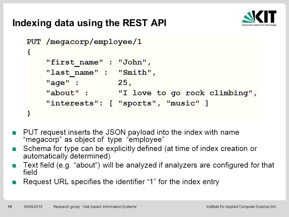 Indexing data using the REST API