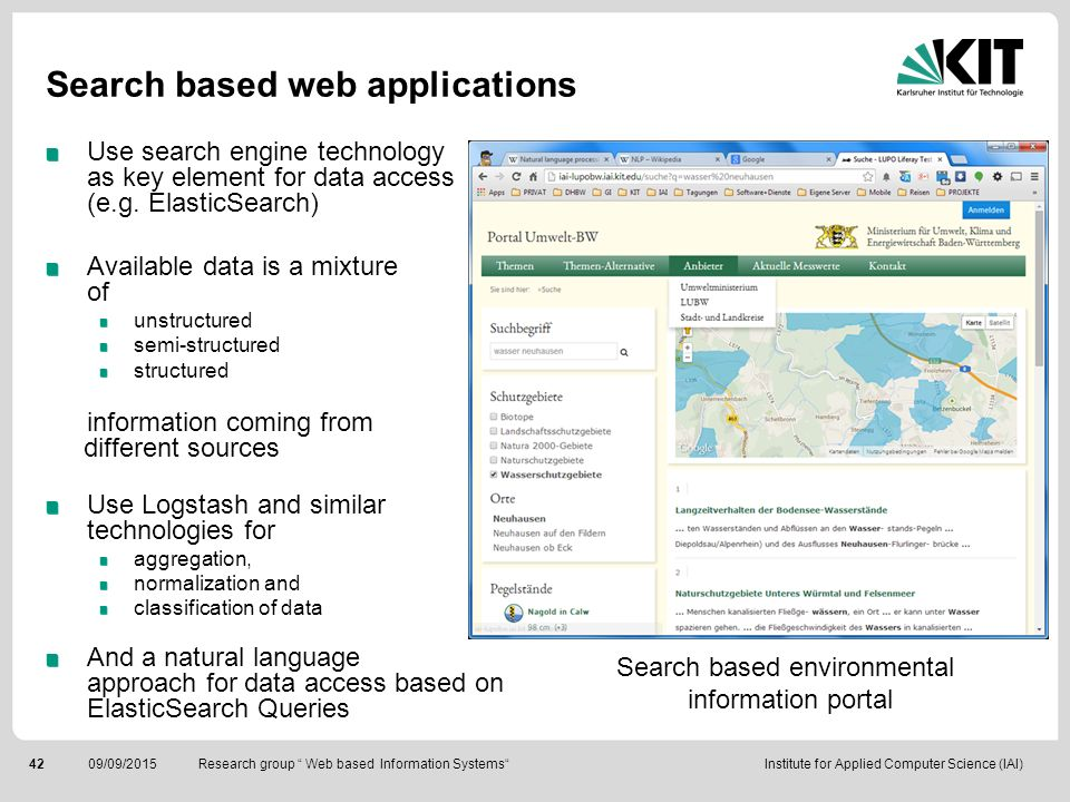 Search based web applications
