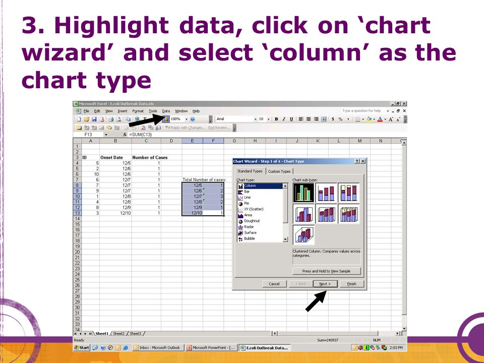 3. Highlight data, click on 'chart wizard' and select 'column' as the chart type
