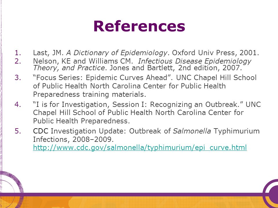 References Last, JM. A Dictionary of Epidemiology. Oxford Univ Press, 2001.