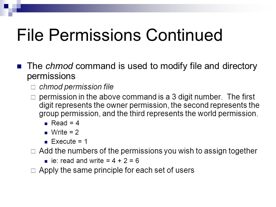 File Permissions Continued