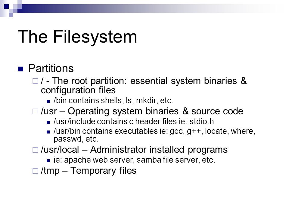 The Filesystem Partitions