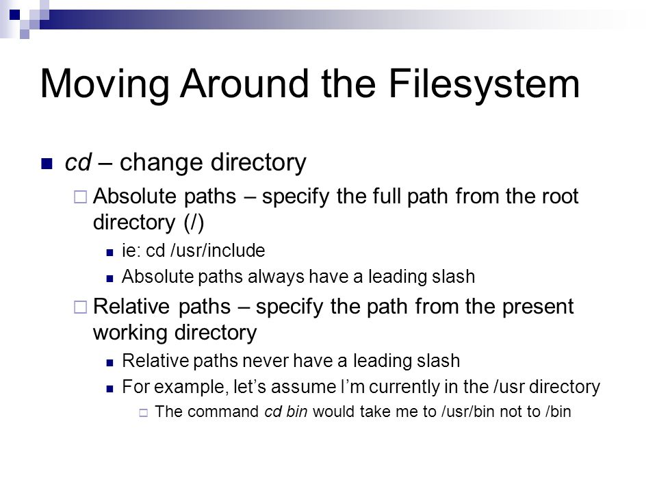 Moving Around the Filesystem