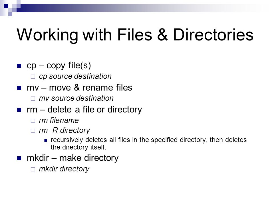 Working with Files & Directories