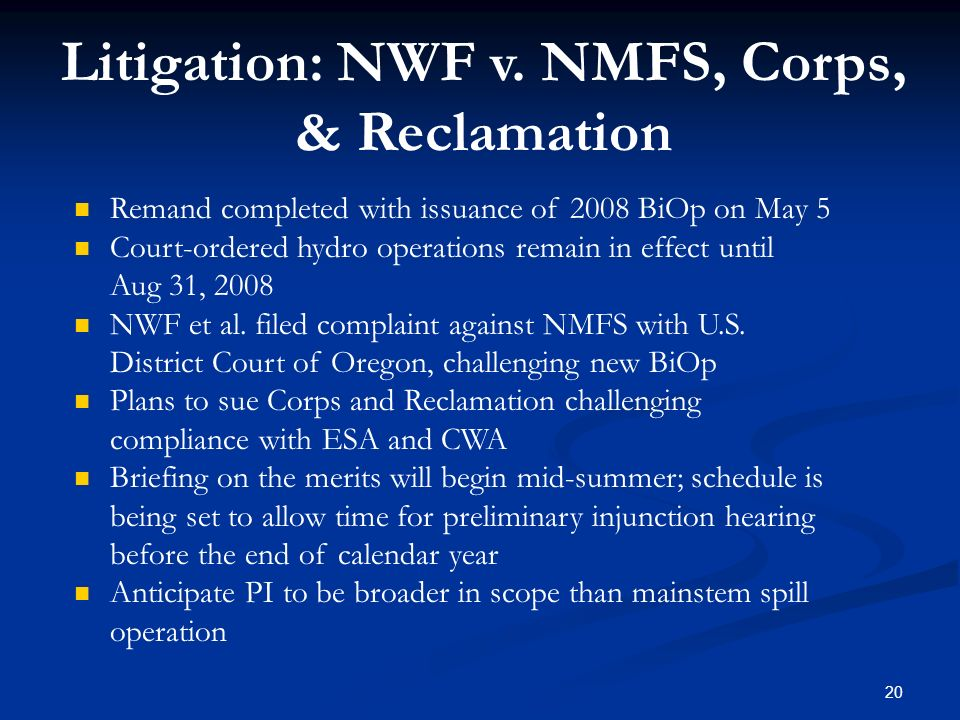 Litigation: NWF v. NMFS, Corps, & Reclamation