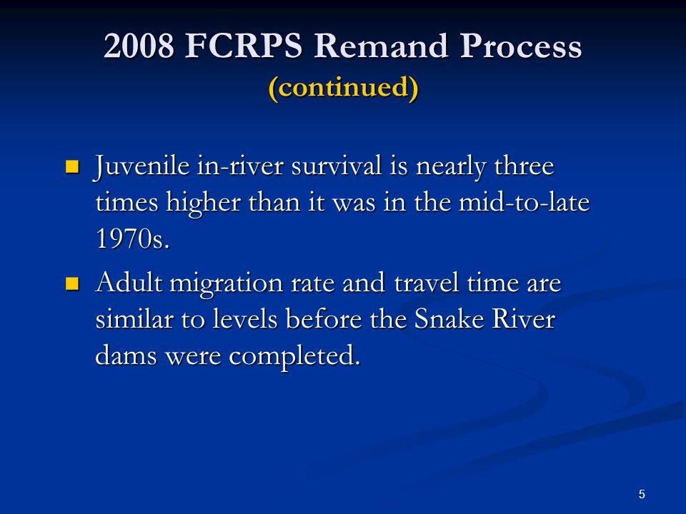 2008 FCRPS Remand Process (continued)