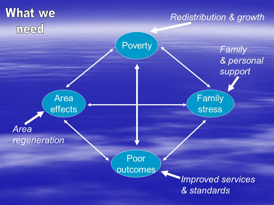 What we need. Redistribution & growth. Poverty. Family. & personal. support. Area. effects. Family.