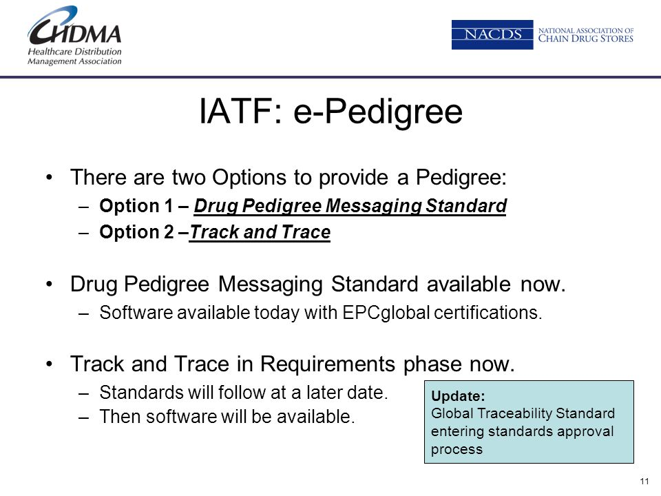 IATF: e-Pedigree There are two Options to provide a Pedigree: