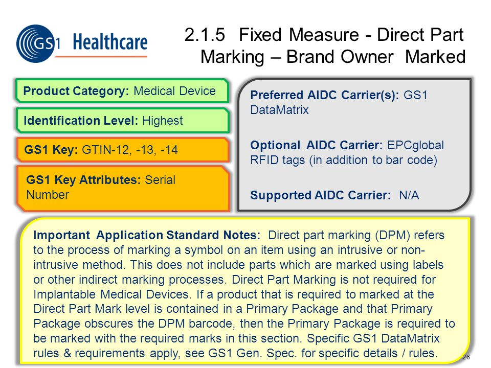 2.1.5 Fixed Measure - Direct Part Marking – Brand Owner Marked
