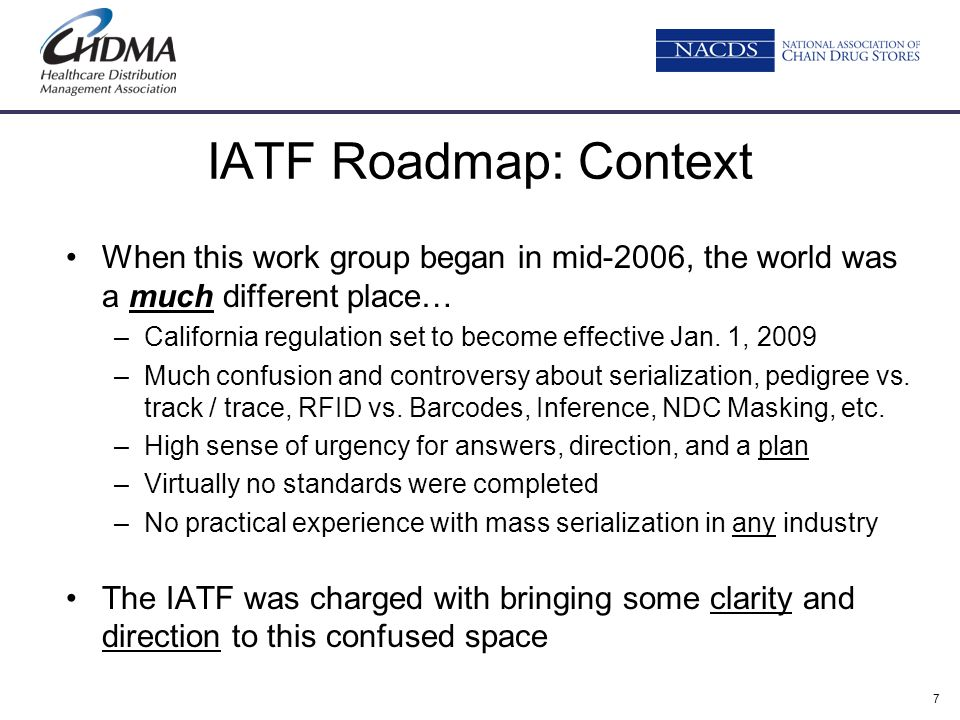 IATF Roadmap: Context When this work group began in mid-2006, the world was a much different place…