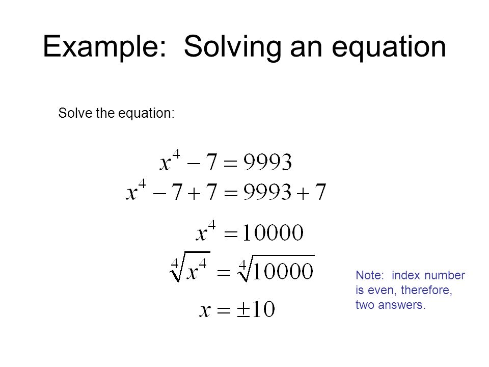 Example: Solving an equation