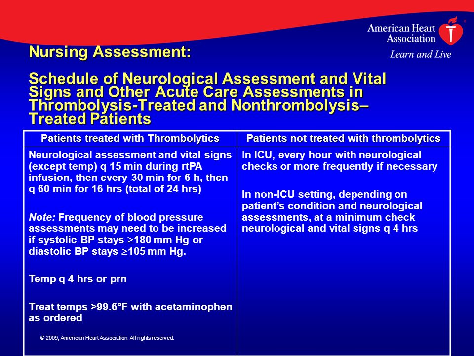 Nursing Assessment: Schedule of Neurological Assessment and Vital Signs and Other Acute Care Assessments in Thrombolysis-Treated and Nonthrombolysis– Treated Patients