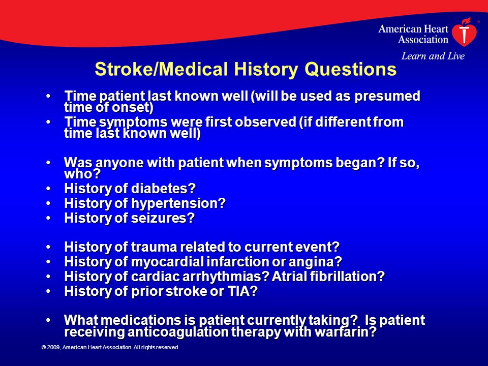 Stroke/Medical History Questions