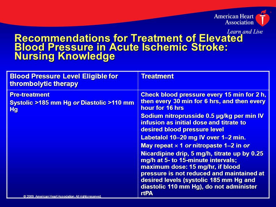 Recommendations for Treatment of Elevated Blood Pressure in Acute Ischemic Stroke: Nursing Knowledge