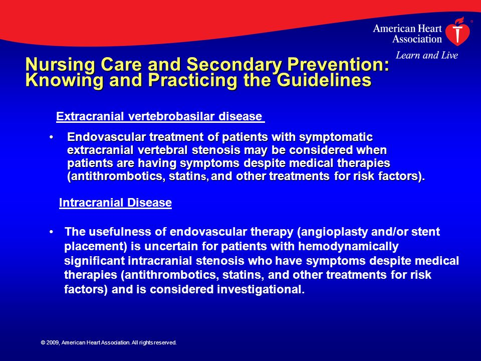 Nursing Care and Secondary Prevention: Knowing and Practicing the Guidelines