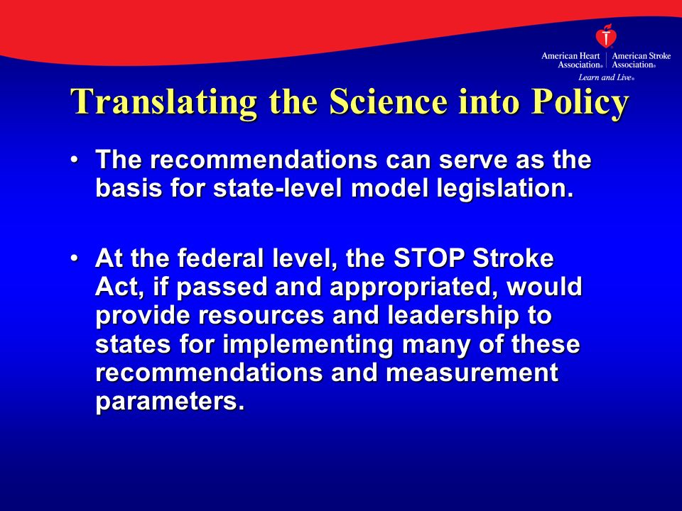 Translating the Science into Policy