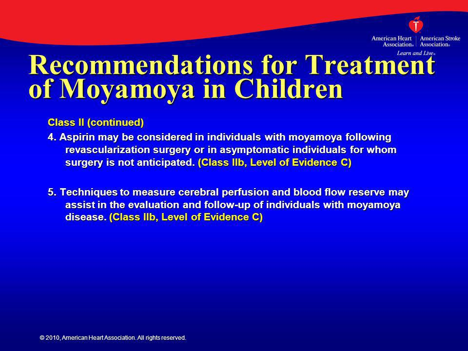 Recommendations for Treatment of Moyamoya in Children