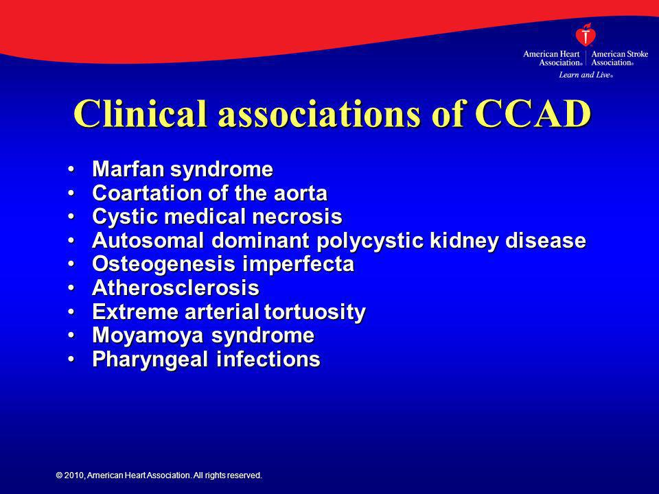 Clinical associations of CCAD