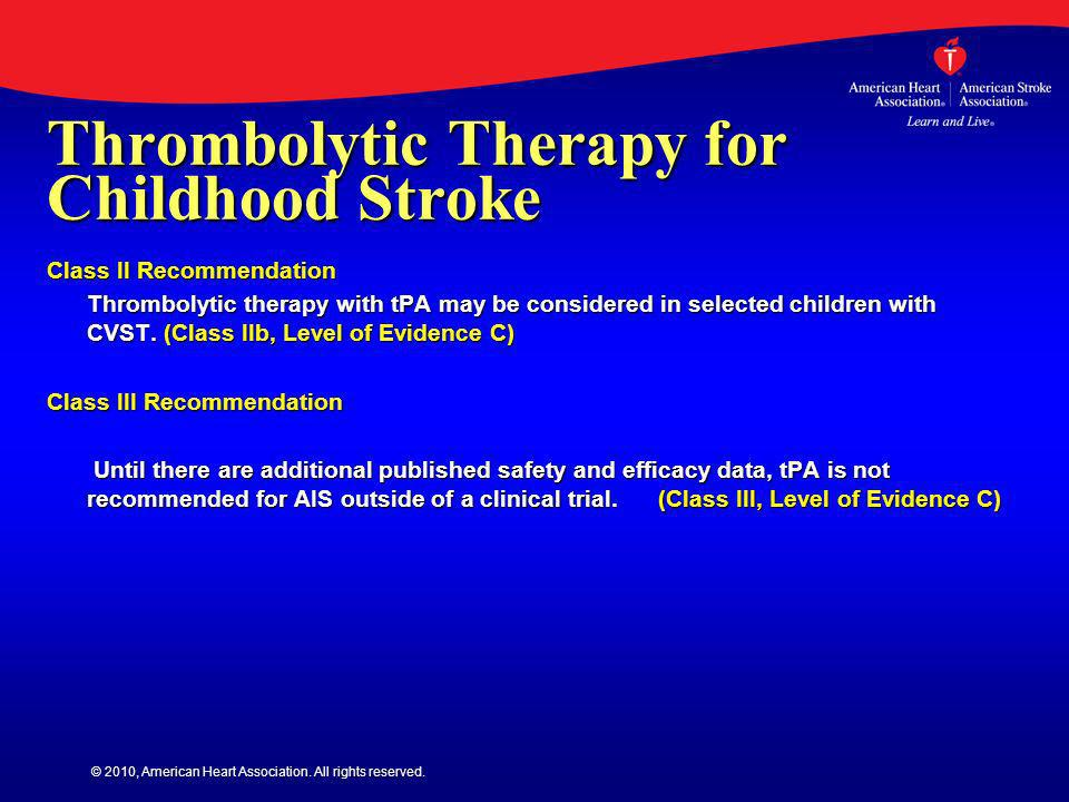 Thrombolytic Therapy for Childhood Stroke