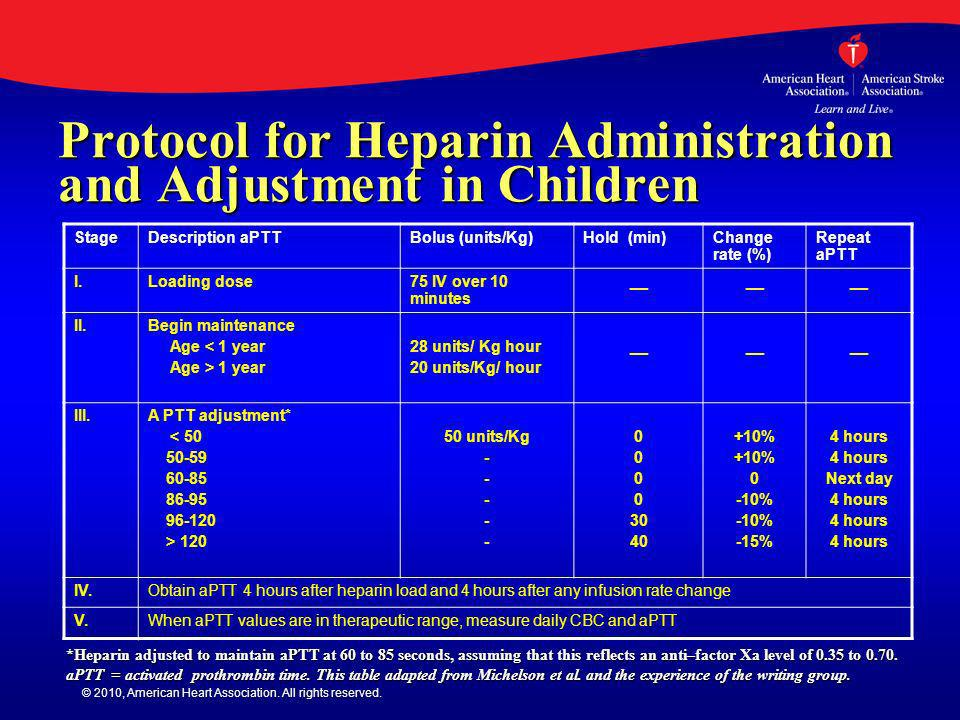 Protocol for Heparin Administration and Adjustment in Children