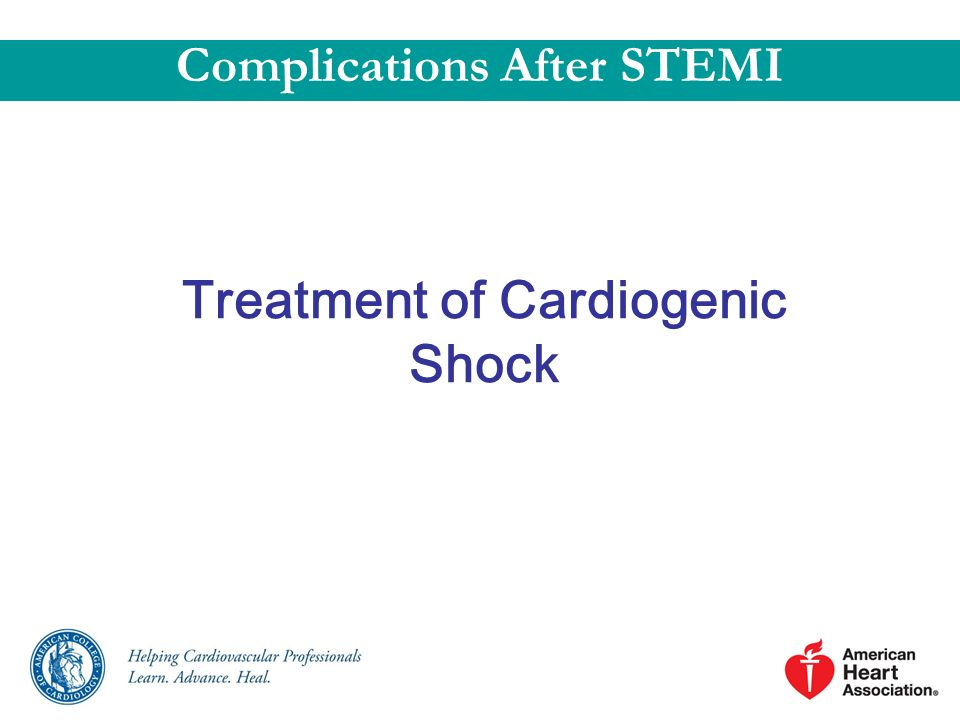 Complications After STEMI Treatment of Cardiogenic Shock