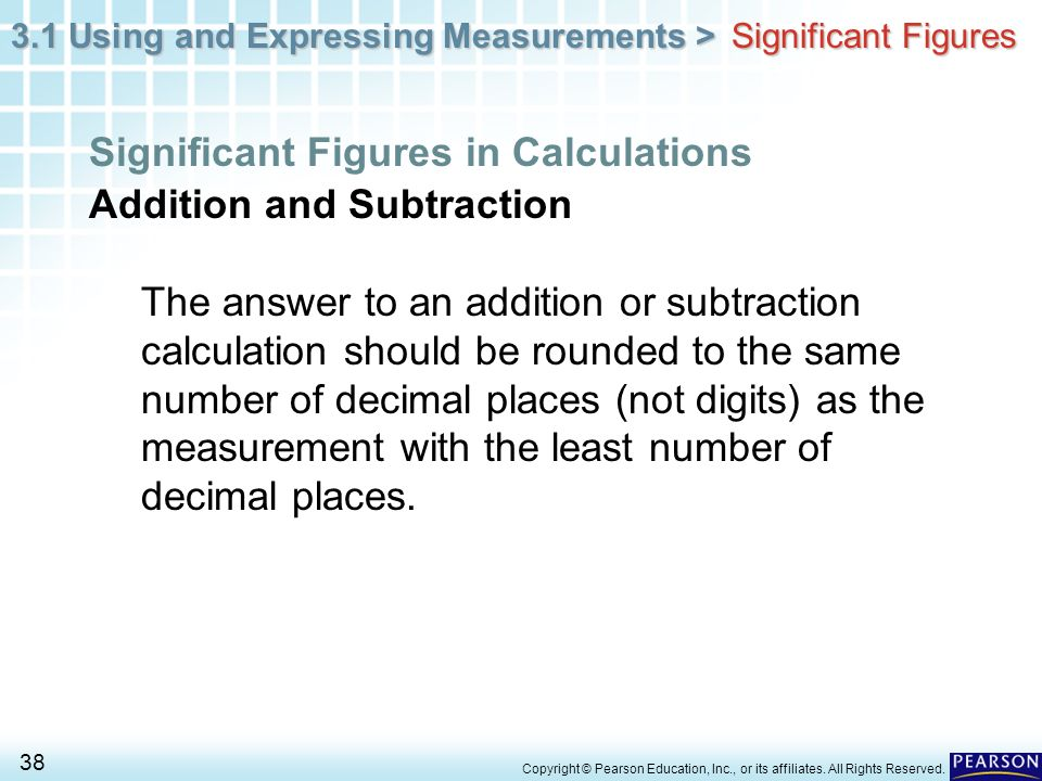 Significant Figures in Calculations Addition and Subtraction