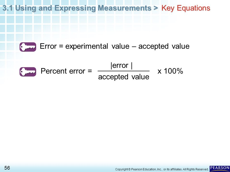Error = experimental value – accepted value