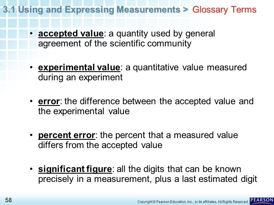 experimental value: a quantitative value measured during an experiment