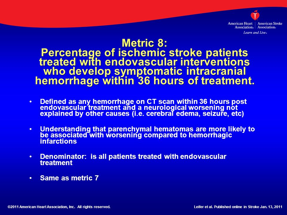 Metric 8: Percentage of ischemic stroke patients treated with endovascular interventions who develop symptomatic intracranial hemorrhage within 36 hours of treatment.