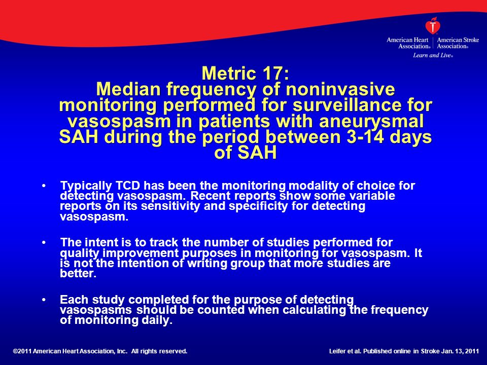 Metric 17: Median frequency of noninvasive monitoring performed for surveillance for vasospasm in patients with aneurysmal SAH during the period between 3-14 days of SAH