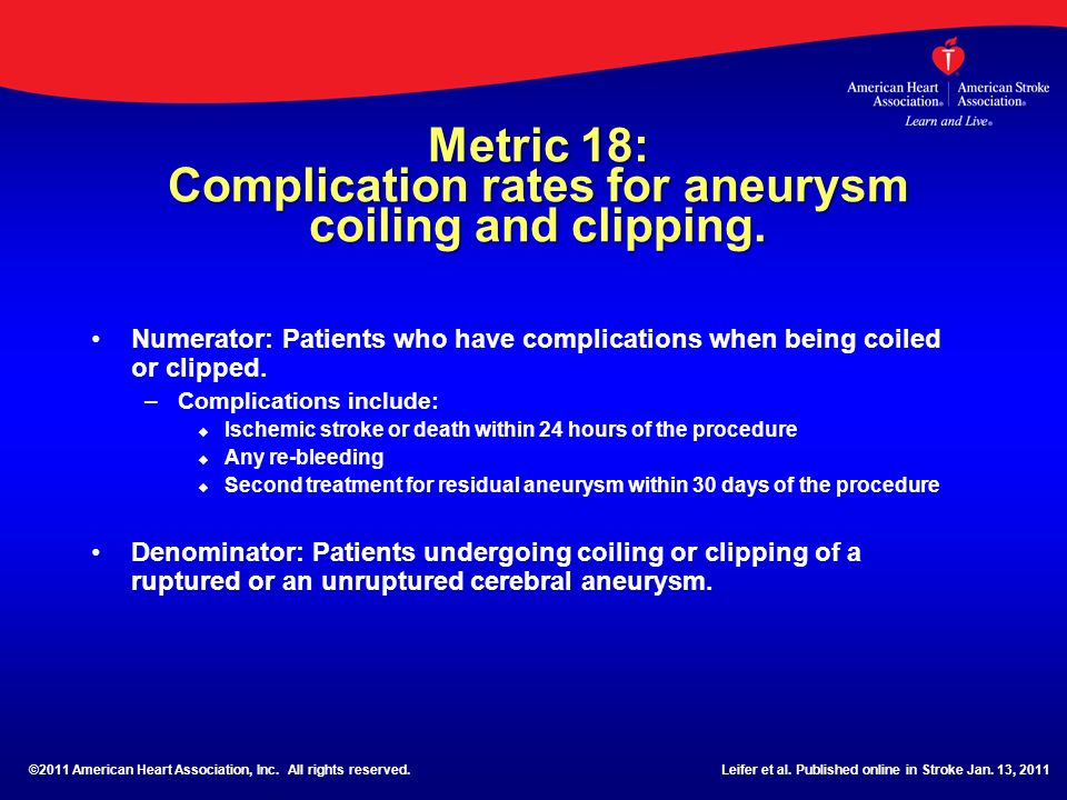 Metric 18: Complication rates for aneurysm coiling and clipping.