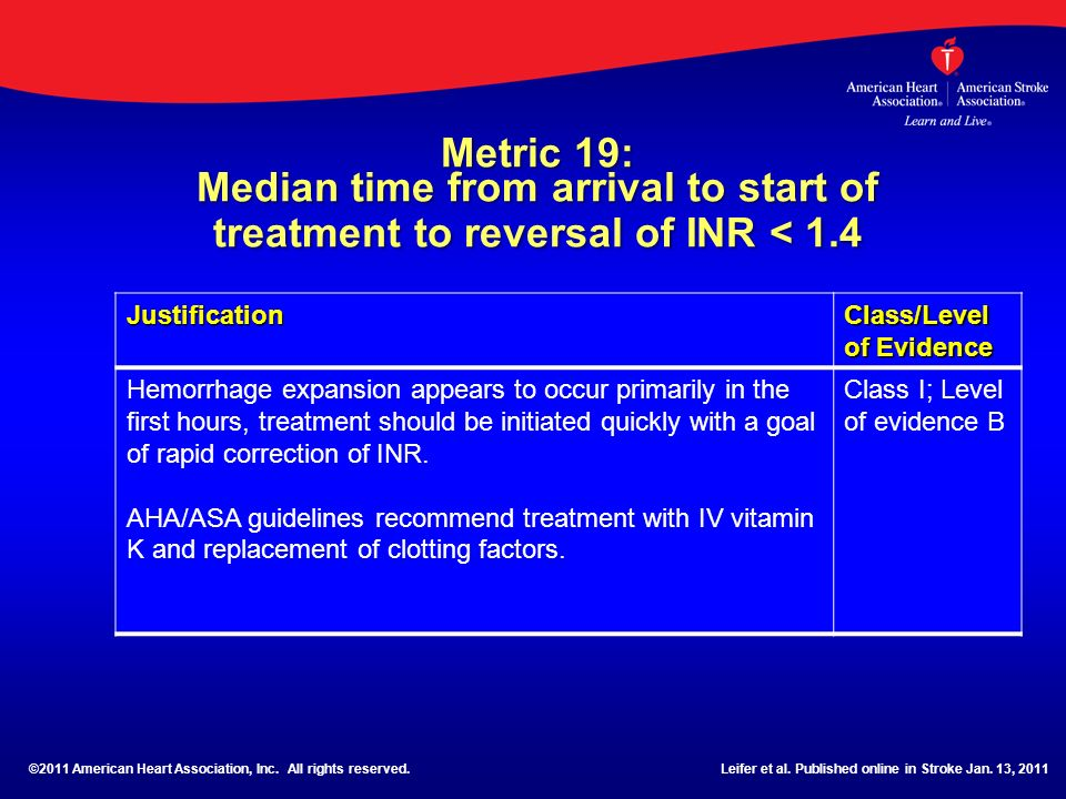 Metric 19: Median time from arrival to start of treatment to reversal of INR < 1.4