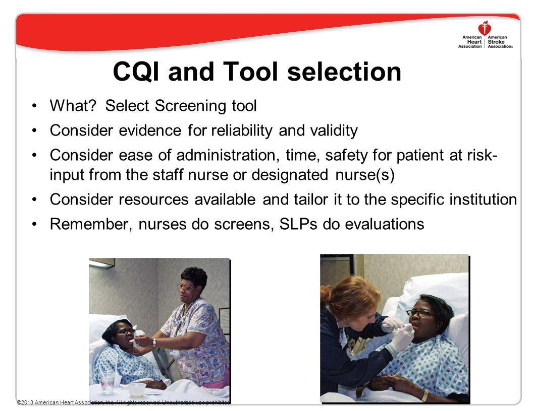 CQI and Tool selection What Select Screening tool