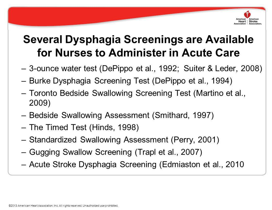 Several Dysphagia Screenings are Available for Nurses to Administer in Acute Care