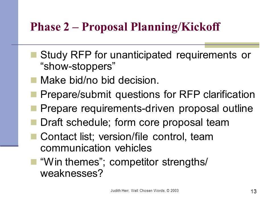 Phase 2 – Proposal Planning/Kickoff