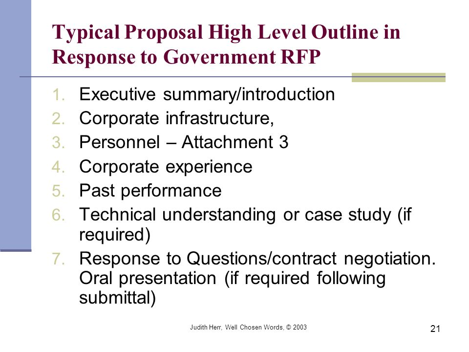 Typical Proposal High Level Outline in Response to Government RFP