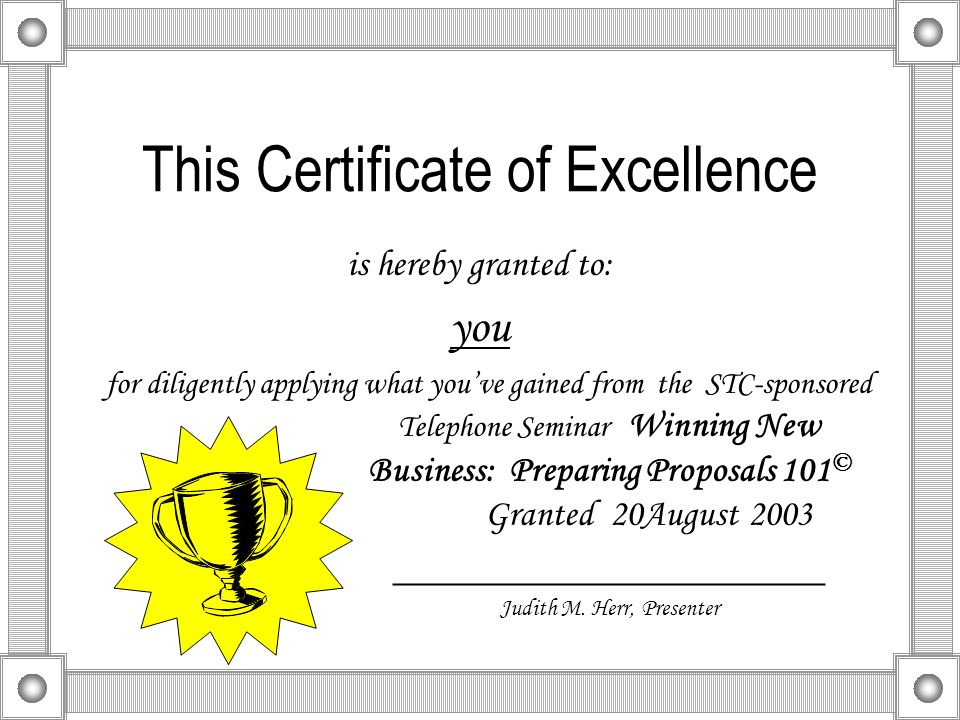 This Certificate of Excellence