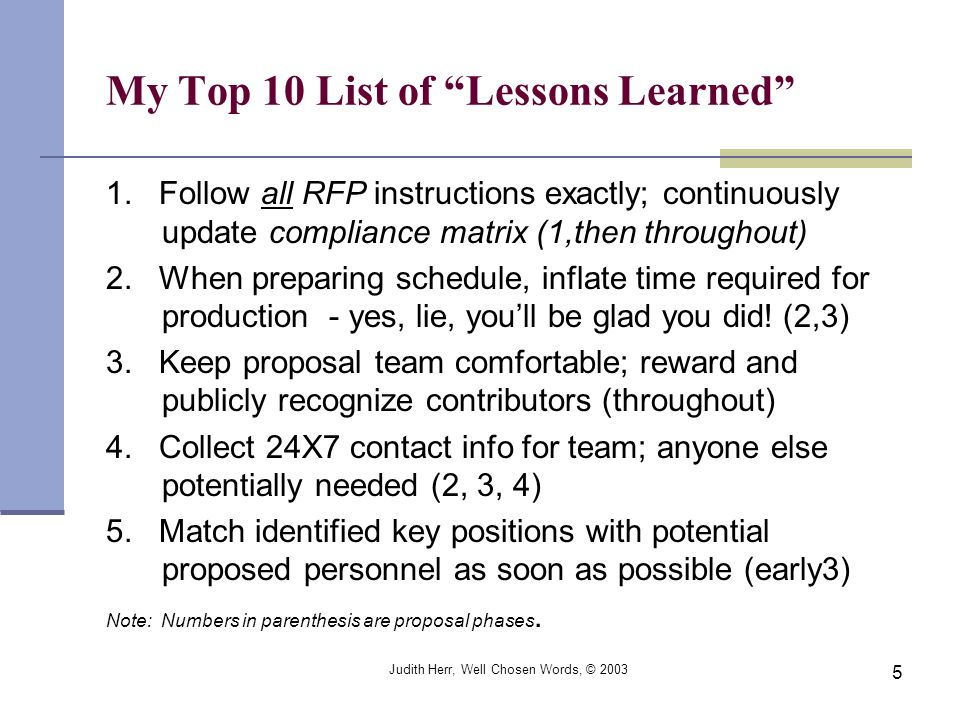 My Top 10 List of Lessons Learned